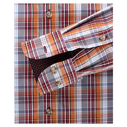 Casa Moda Langarmhemd rot-orange-grau-blau kariert Übergröße Mehrfarbig