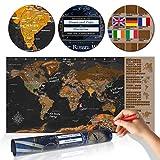 decomonkey | Rubbelweltkarte DEUTSCH | 100x50 cm | Weltkarte zum Rubbeln mit Fahnen/ Nationalflaggen | Rubbelsposter | Rubbelkarte | FULL HD | Rubbellack | Rubbelbild | Mehrfarbiger Rubbellack | Scratch Off World | Travel Map | Landkarte | Poster | Weltkarte um Reisen