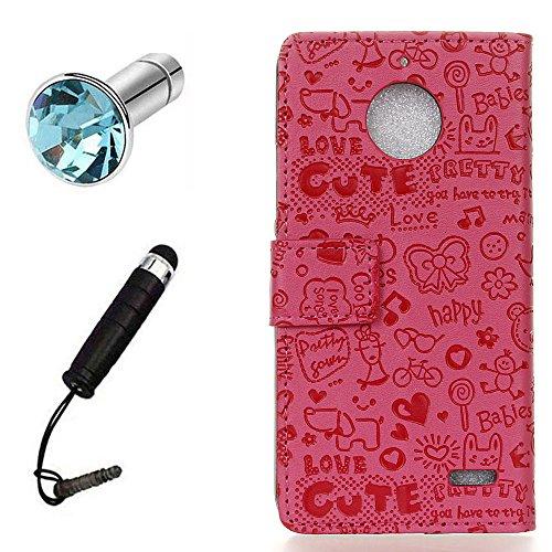 Lusee PU Custodia Borsa Finta Pelle per Motorola Moto E4 XT1762 con Custodia in Silicone Copertura + Spina della Polvere e Penna Tocco Piccola Strega Rosa Rossa