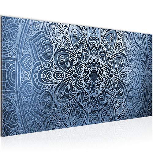 Photo Mandala Résumé Décoration Murale 100 x 40 cm Toison - Toile Taille XXL Salon Appartement Décoration Photos d'art Bleu 1 parties - 100% MADE IN GERMANY - prêt à accrocher 101212b