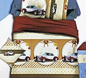 Babysid Collections Bedsheet Single with Pillow Cover Cotton Bed Sheet Premium Quality Vintage Cars Single 100% Cotton with Pillow Cover Imported Printed for Baby Kids Bed Rooms