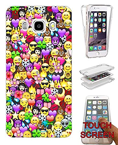 002316 - Collage Emoji Smiley Faces Cool Design Samsung Galaxy J3 SM-J320F Fashion Trend Complete 360 Degree protection Coque Gel Rubber Silicone protection Case Coque