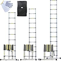 Linxor France - Échelle Télescopique Pro de 2m60, 3.20m ou 3.80m en Aluminium + Housse de Transport et gants de maintien - Norme EN131