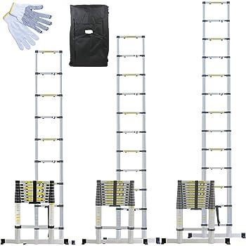 Linxor France ® Échelle Télescopique Pro 2.60m, 3.20m ou 3.80m en Alu + Housse de Transport et gants de maintien - Norme EN131