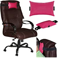 Acm Leather Cushion Pillow Head & Neck Rest Compatible with Study Chair Pink