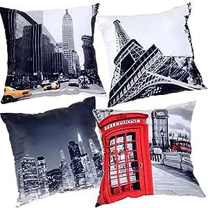 Lot 4 Coussins déco villes PARIS - LONDRES - NEW YORK moelleux, doux et confortable