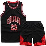 ZETIY Juego de 2 camisetas y pantalones de baloncesto para niños pequeños