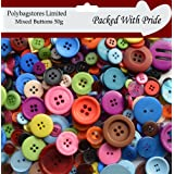 50g Mixed Craft Buttons - Assorted colours and Sizes for Sewing & Crafting by Craft