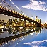 artissimo, Glasbild, 30x30cm, AG2067A, Metropolis I, New York Skyline, Bild aus Glas, Moderne Wanddekoration aus Glas, Wandbild Wohnzimmer modern