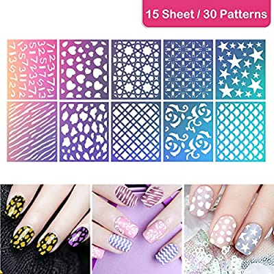 ETEREAUTY 180 Pieces  Nail Vinyls Stencil Stickers Set, 15 Sheets 30 Designs