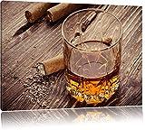 Whisky mit Zigarre Bild auf Leinwand, XXL riesige Bilder fertig gerahmt mit Keilrahmen, Kunstdruck auf Wandbild mit Rahmen, guenstiger als Gemaelde oder Bild, kein Poster oder Plakat, Format:120x80 cm