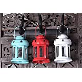 Wacky Decorative Antique Hanging Tealight Candle Holder Lantern Indoor Outdoor Home Decoration Beautiful For Gifts Set Of 3 (White, Red, Blue)