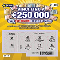 Idea Regalo - 5 X lotteria Biglietti Gratta e Vinci Finti Scherzo Estremamente Realistici – Tutti sembrano portare alla vincita di un montepremi tra 50.000€ e 250.000€