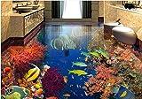 LWCX Custom 3D Stock Wandmalereien Tropische Fische Unterwasser Wallpaper 3D Pvc Bodenbeläge Wasserdicht Wallpaper Für Badezimmer Wohnzimmer 250X175CM