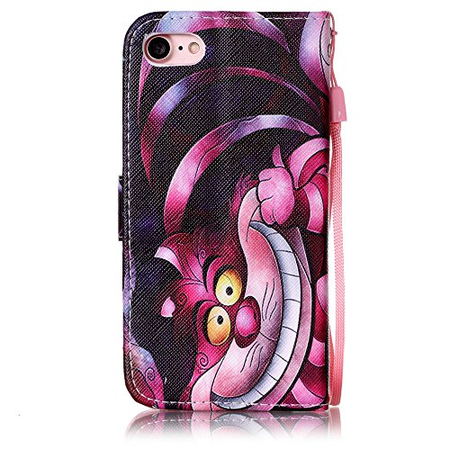 Custodia iphone 7 Plus, iphone 7 Plus Case, Cozy Hut ® Retro Colorful Drawing Art Painted Premium PU Leather Magnetic Flip Wallet Cover with Detachable Hand Lanyard & Card Slots & Stand Function for A gatto del fumetto