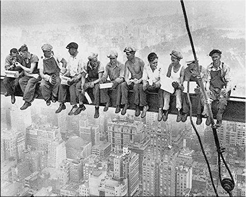 artissimo, Dekopanel, Deco Panel, ca. 50x40cm, PE5098-PA, New York: Men on Girder, Bild, Wandbild, Wanddeko, Wanddekoration, Poster auf Decopanel