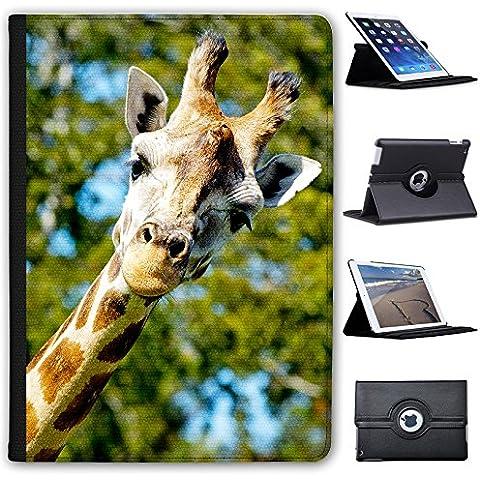 Jirafa africana (piel sintética, función atril), diseño con capacidad de soporte para tablets negro Giraffe Poking Head Round Apple iPad Air