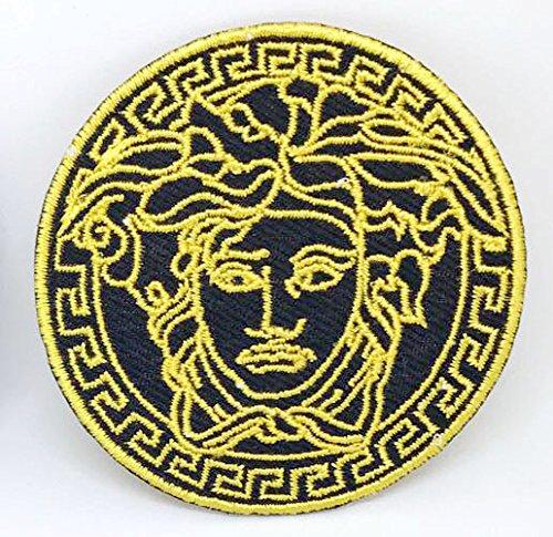 Parche bordado Medusa amarillo redondo planchar coser