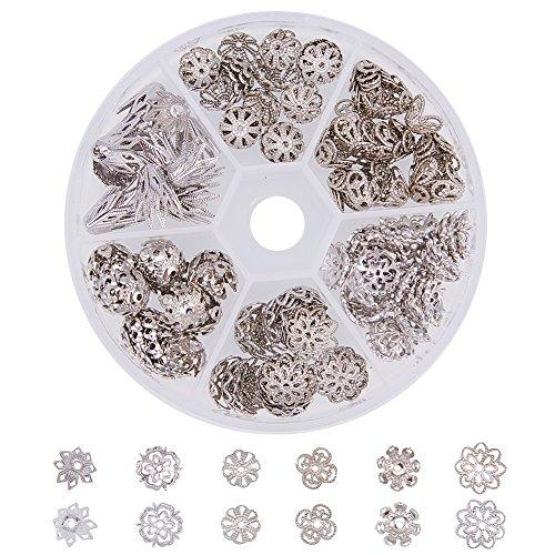 PandaHall Elite - 170pcs Perle Hüte Messing Cup Bead Cap Blume Perlen für Schmuck Machen, Platinum