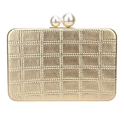 Bonjanvye PU Leather Cross Body Bag Square Grid Clutch Bags
