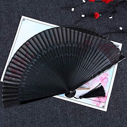 Tanzabend Kostüm Kinder - XIAOHAIZI Handfächer,Sommer Chinesischen Stil Frauen Bambus Fan Schwarz Hohl Vintage Chinesischen Stil Seidenfächer Geeignet Für Hochzeit Dame Geschenk Tanz Fan U-Bahn Faltfächer