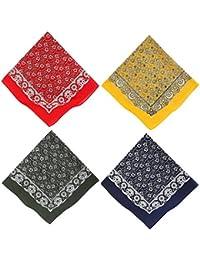 Betz Nickituch Bandana Kopftuch Halstuch mit klassischem Paisleymuster Größe: 55 x 55 cm 100% Baumwolle in den Farben rot, gelb, grün und blau Farbe rot