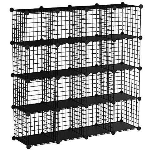 SIMPDIY Bookshelf Multi-function Space-saving Metal Organizer Wire Shelves Cubes Storage Portable Storage Shelf Racks(16 cubes)