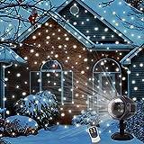 LED Schneeflocke ProjektorLicht Wasserdicht Weihnachten Schneefall Projektor Leuchten mit drahtloser Fernbedienung und Timing Funktion für Außen und Innen Deko,Partys, Weinachten und Feiertage