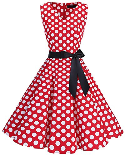 bridesmay 1950er Vintage Rockabilly V-Ausschnitt Kleid Retro Cocktailkleid Schwingen Kleid Faltenrock Red White Dot ()
