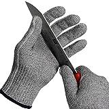 BHSHEN Schnittschutz Handschuhe Lebensmittelecht Level 5 Schutz 1 Paar (XL)