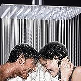 10 Zoll Quadratische Luxus Regendusche Einbauduschköpfe Edelstahl Drehbar 1/2 Zoll Wasserfall Duschkopf aus Edelstahl SpiegeleffektHochglänzend