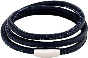 DonDon Bracciale in Pelle Unisex Blu Scuro on Chiusura Magnetica in Acciaio Inox - Fino a Tre Giri