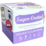 Sugar Coated Hair Removal Wax Kit for Facial Hair, Vegan Friendly, Containing Essential Lavender Oil, 1 x 200g