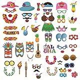LanLan Kamera Spielzeug 60 st¨¹cke Hawaii Party Foto Requisiten Sommer Pool Beach Party Make up Tools Kost¨¹m Ball Festival Maske Gesicht Dekoration