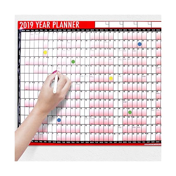 2018 A1 Laminated Yearly Wall Planner Calendar with Wipe Dry Pen & Sticker Dots 61BIvKNgtvL