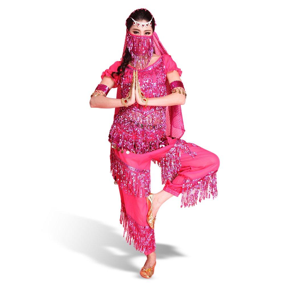 Besmall Costume Danza del Ventre Paillette Rosa-Top+Pantaloni