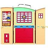 Fireman Sam Brandmanscenter brandstation lekset, figur och tillbehör, förskola äventyrsleksak, zipwire, räddningsplattform –
