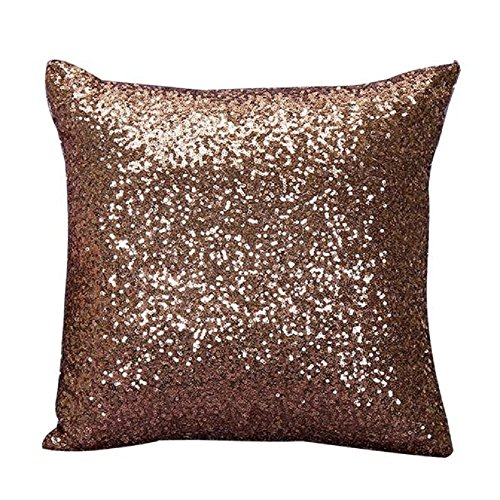 Indexp Glitter Sequins Solid Color Pillowcase Home Decor Sofa Cushion Cover (Coffee)