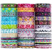 24 Rollen Washi Tape Set - 24 Rollen 8mm breit Masking Tape,dekorative Abdeckband für DIY Craft Scrapbooking Geschenkpapier