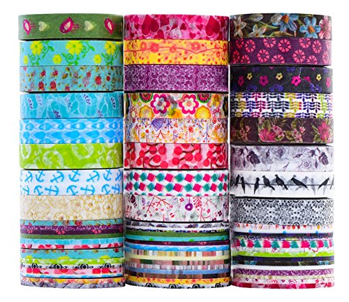 24 rollos de Washi Tape Set - 24 Rollos de 8 mm de ancho, cinta adhesiva decorativa para DIY Craft Scrapbooking envoltura de regalo
