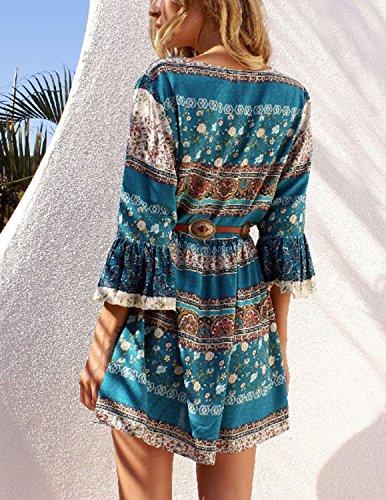 MODETREND Damen Sommerkleid mit Bohemien Geblümt VAusschnitt Trompete Ärmel  Strandkleid Abendkleid Party Cocktail Kleider Blau