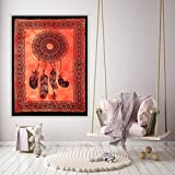 "[Sponsored]Handicraft-Palace 30"" X 40"" Orange Dream Catcher Printed Wall Cotton Poster Home Decor Wall Decor Cotton Small Wall Tapestry Wall Hanging -Palace"