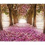 decomonkey Fototapete Wald Blumen 250x175 cm Tapete Wandbild Bild Fototapeten Tapeten Wandtapete Wandtapeten Natur Landschaft rosa