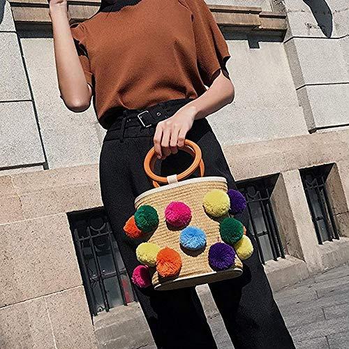 Rattan-peel (CBSTBLLL Stroh Taschen Frauen Strandtasche Eimer Typ Umhängetasche Sommer mit Peel Off PU Schultergurt Handtasche Rattan Multicolor)