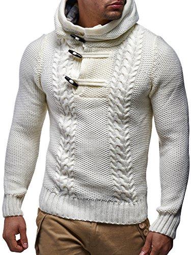 LEIF NELSON Herren Hoodie Kapuzenpullover Strickpullover mit Kapuze Longsleeve Sweater Sweatshirt Langarm Pulli Strick LN20231N; Gr_¤e M, Weiss/Beige