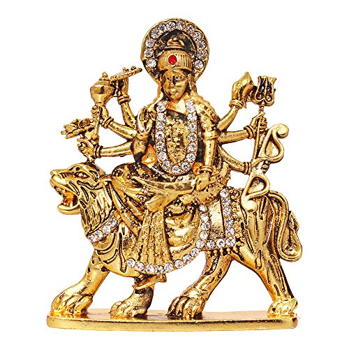 ART N HUB Brass Gold Plated with Stones Studded Durga Statue (Multicolour)