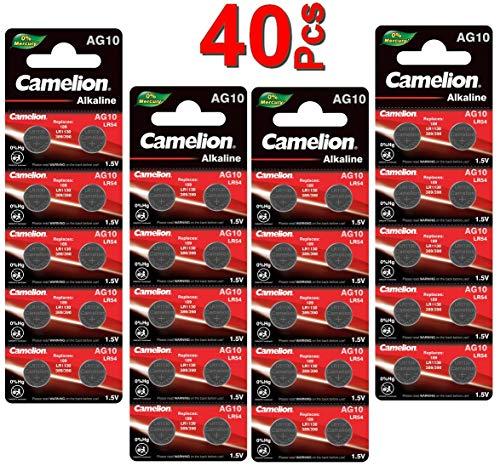 LOT en Paquet 40 Piles Bouton alcaline LR1130 AG10 Liseuses, Montres, calculatrices, caméras, pointeurs sans Mercure