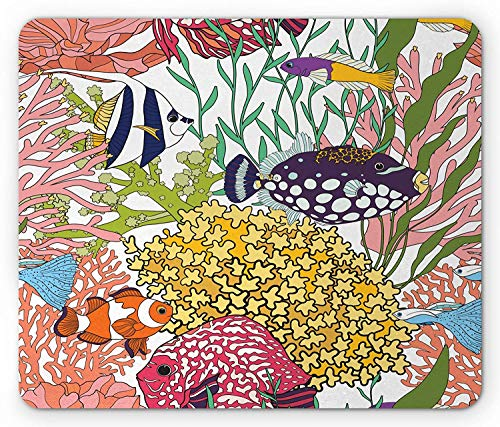 Fish Mouse Pad, Tropical Exotic Fish Pattern with Coral Reefs Hawaiian Subaquatic Nature Illustration, Standard Size Rectangle Non-Slip Rubber Mousepad, Multicolor