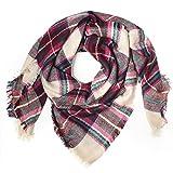 Distressed XXL Damen Oversized Schal Ÿbergro§er Deckenschal Karo Plaid Muster kariert Poncho - beige-pink