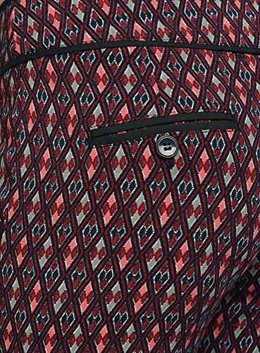 oodji Ultra Damen Leichte Druckhose aus Viskose Rot (4919G)